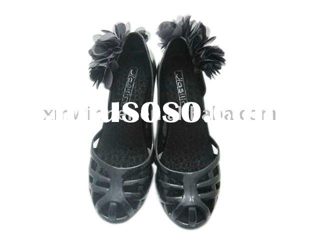 ladies fashion PVC jelly wedge sandal shoes