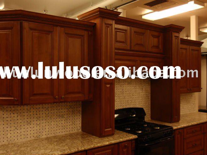 mocha style solid wood kitchen cabinet