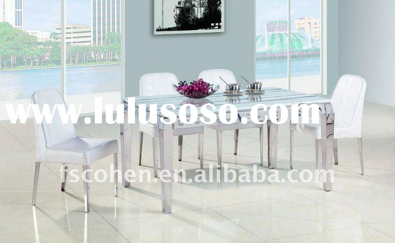 modern style marble top stainless steel frame dining table designs