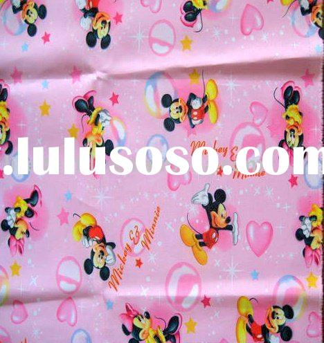 polyester satin fabric printed mickey minnie