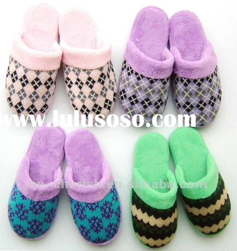 soft sole indoor slippers/knitted upper/TPR or dotted fabric sole