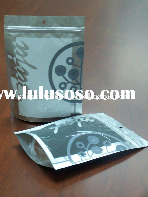 stand-up pouch with zipper,poly laminated aluminum foil, bag for makeup,coffee, tea, snack, daily ne