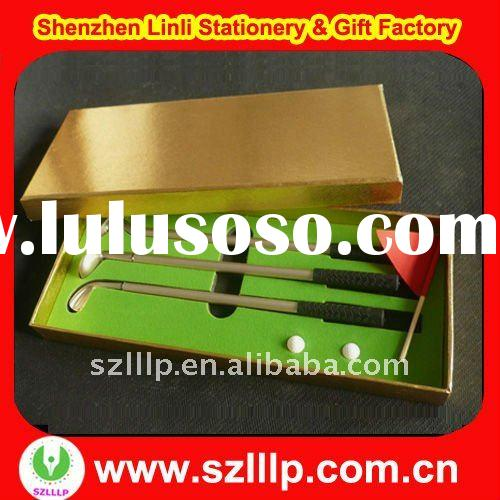 supply logo Golf Pen Set with golden box packing