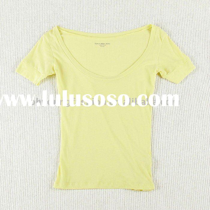 wholesale women's cotton spandex light yellow blank short sleeved t-shirt