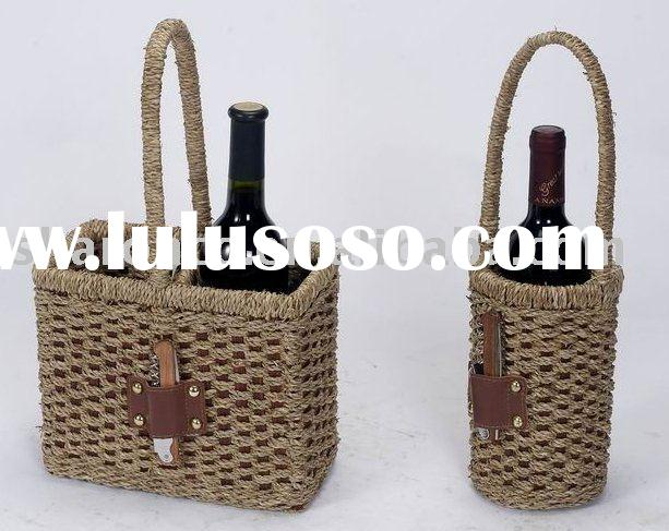 wicker wine basket,for one or two wine bottle,with bottle opener