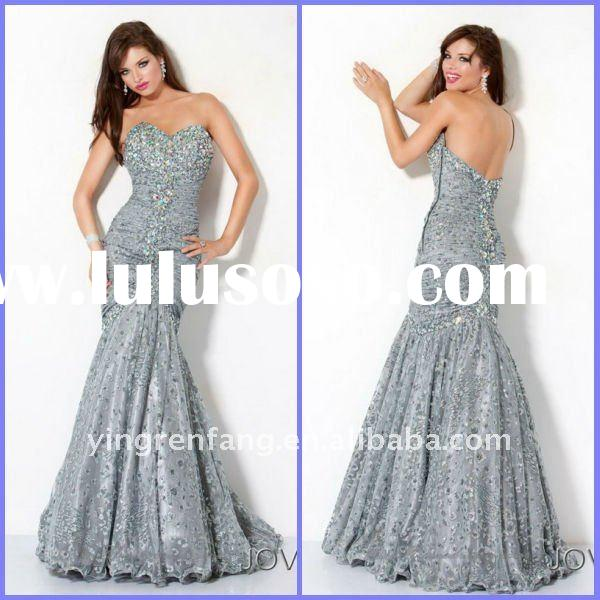 2012 Free Shipping Sweetheart Mermaid Ruffle Satin Rhinestone Watteau Train Diamond Prom Dresses