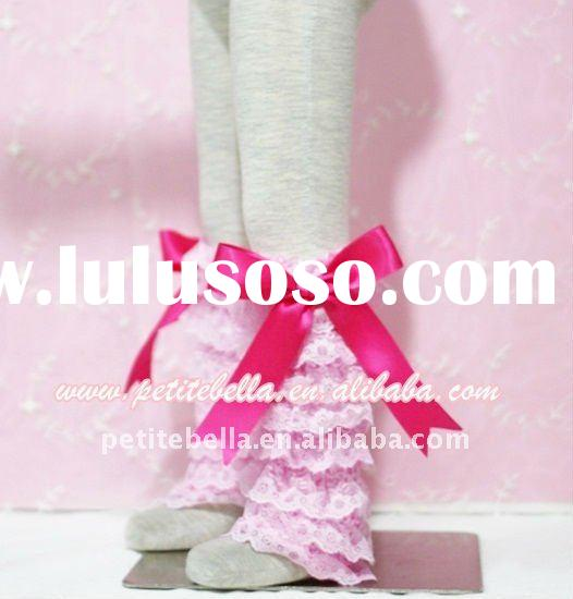 Baby Pink Lace Leg Warmers Leggings with Hot Pink Ribbon MALG49