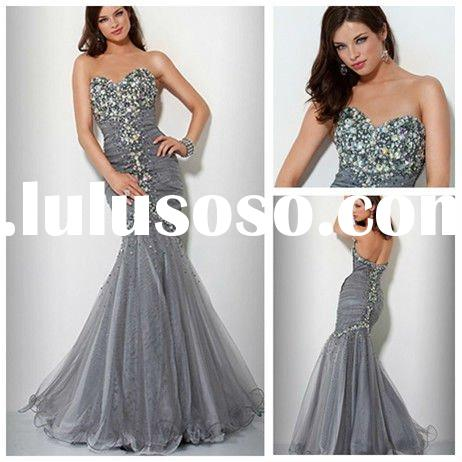 Best Selling Beading Organza Mermaid Prom Dresses 2012