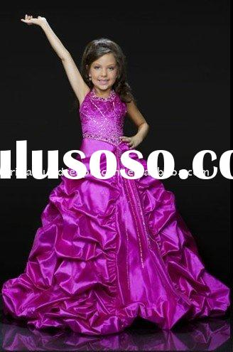 Charmeuse over satin rhinestone princess line gown /flower girl dress ZR011