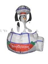 Christmas Air-Blown Inflatable Pop-Up Penguin in Igloo