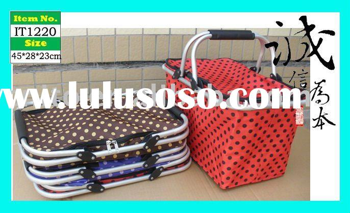 Collapsible Folding Tote Picnic Hamper Shopping Basket with Cover
