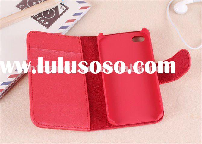Deluxe Leather Booklet Case Pouch Skin Cover Wallet Holster For iPhone 4 4G 4S