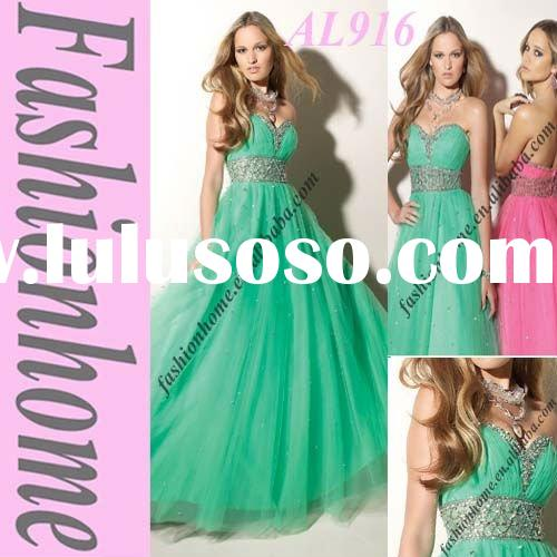 Fashion Beading A-lineGreen Night Party Dress AL916