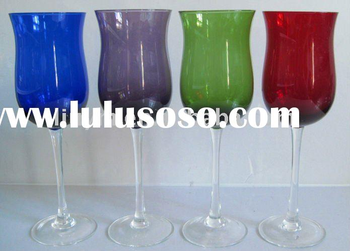GLASSWARE KITCHENWARE TABLEWARE GLASS CUPS WINE GLASS-set for four colored with one shape