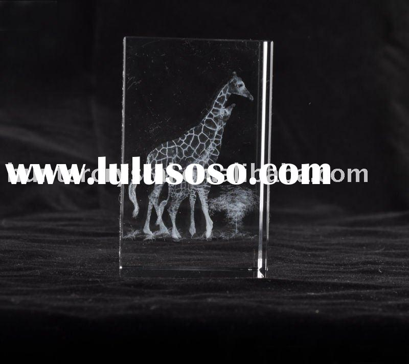 Giraffe 3D Laser Engraved Crystal Block,Best Crystal Souvenirs's Gift