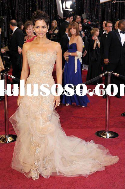 Halle Berry 83th Oscar 2011 Red Carpet Strapless Mermaid Celebrity dresses Formal Gown
