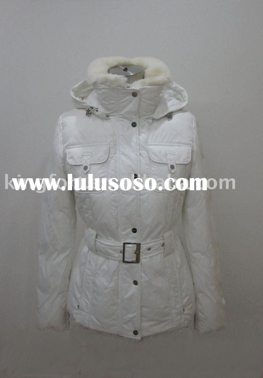 Ladies' casual down jacket with fur collar and hood