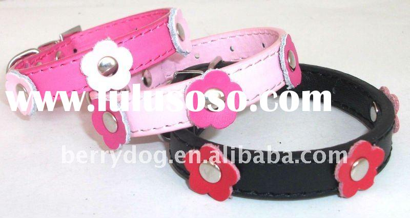 Leather dog collars with flower!