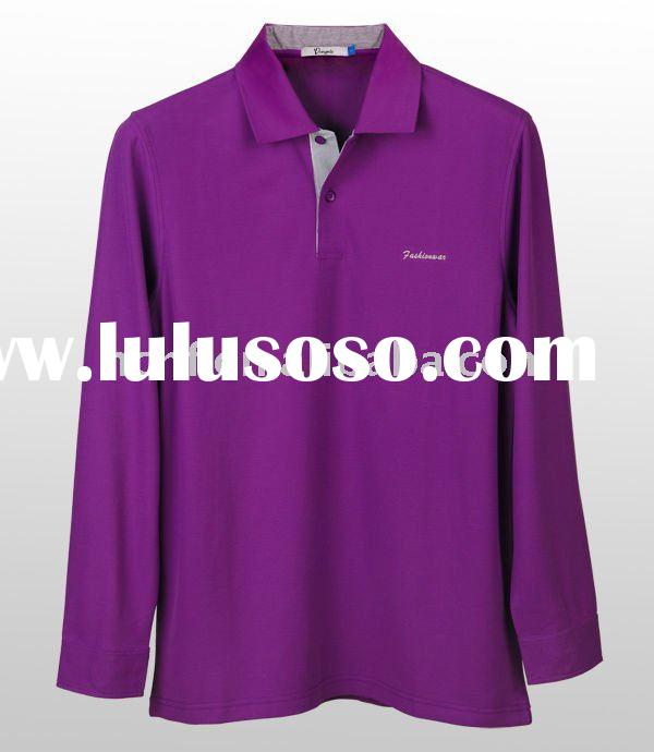 Men's long sleeve cotton plain colour polo shirt