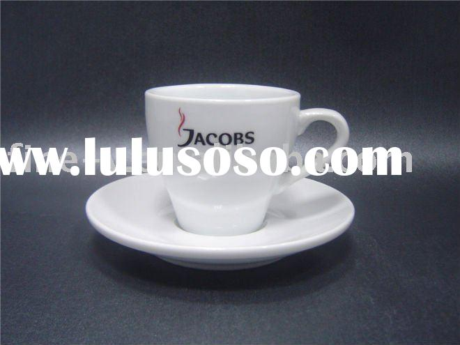 Porcelain coffee cup and saucer with logo printing