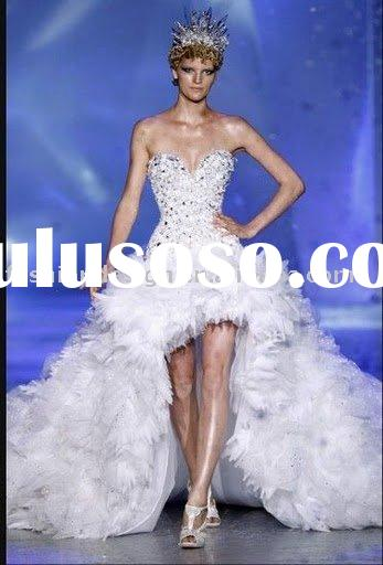 RH048 Gorgeous Crystals front short back long train bridal gowns wedding dress