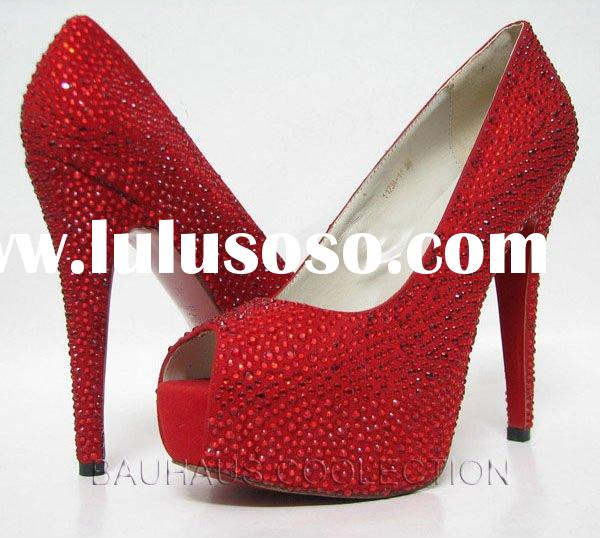 "Red Sparkle Party/Ball/Prom Platform 5.5"" High Heel Women Lady Dancing Shoes women s bridal par"