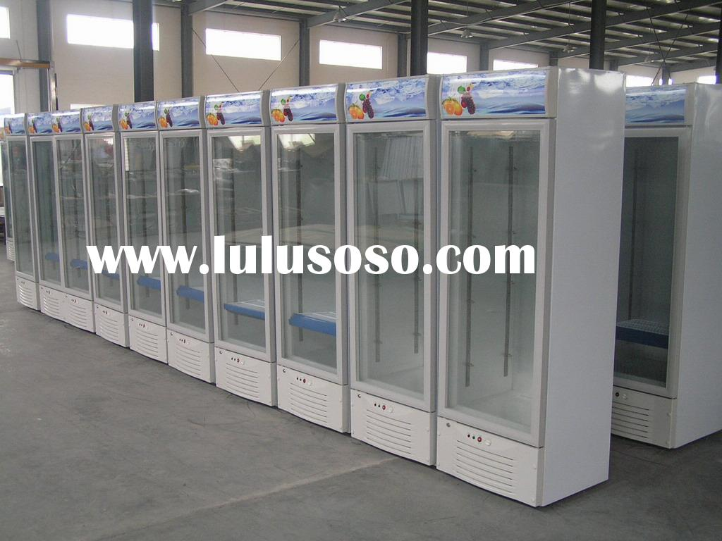 Vertical refrigerated showcase, display cooler with canopy and lock