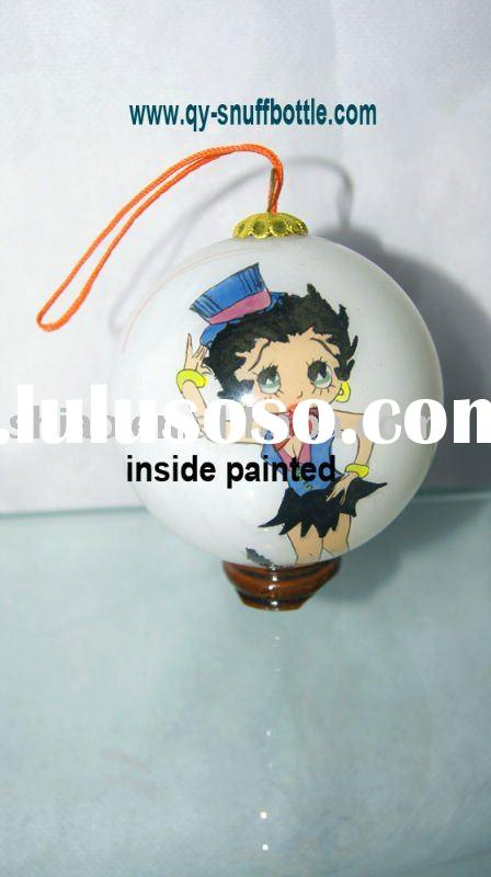 christmas gift of 7 cm glass ball for easter decoration inside painted cartoon picture better price