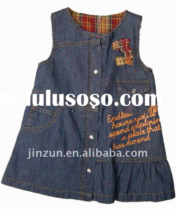 fashion cotton girl denim dress kids wear flower girl dress