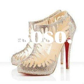 high heel crystal transparent shoes / red sole dance shoes