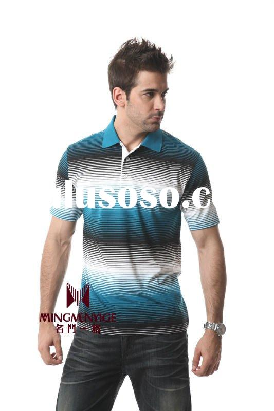 summer fashion mens leisure color striped polo t-shirts