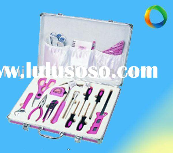 18pcs tool kit for lady(pink color beautiful metal case)
