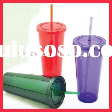 20 OZ Double Walled Plastic Tumbler Cup with Straw & Lid