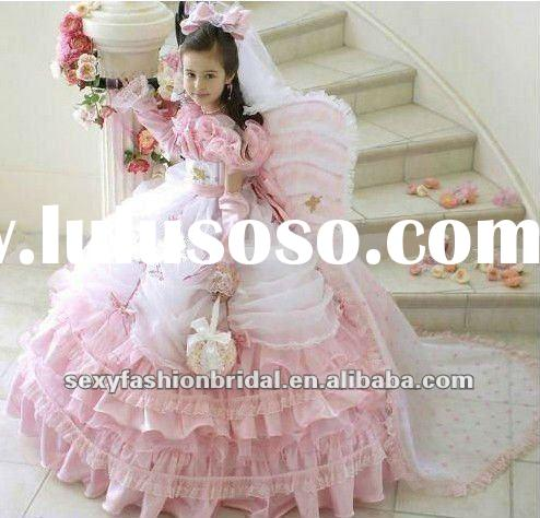 Asymmetrical ruffle Ball gown skirt medium lace flower girl dress