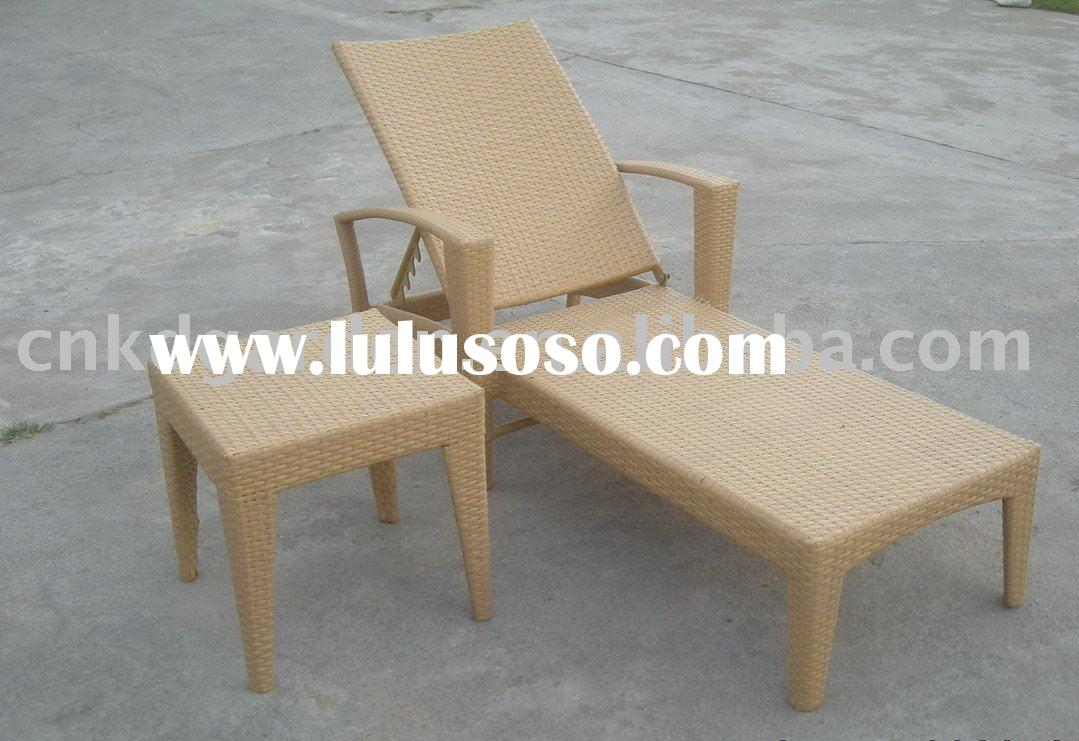 Garden resin wicker chaise lounger bed sun bed