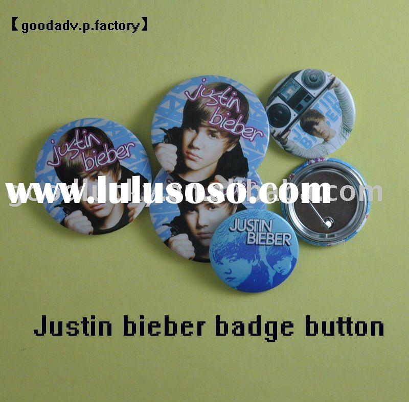 Justin bieber badge button (tinplate or plastic)