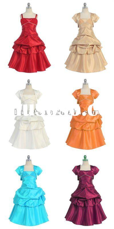 Satin Long Pick-up Flower girl dress patterns