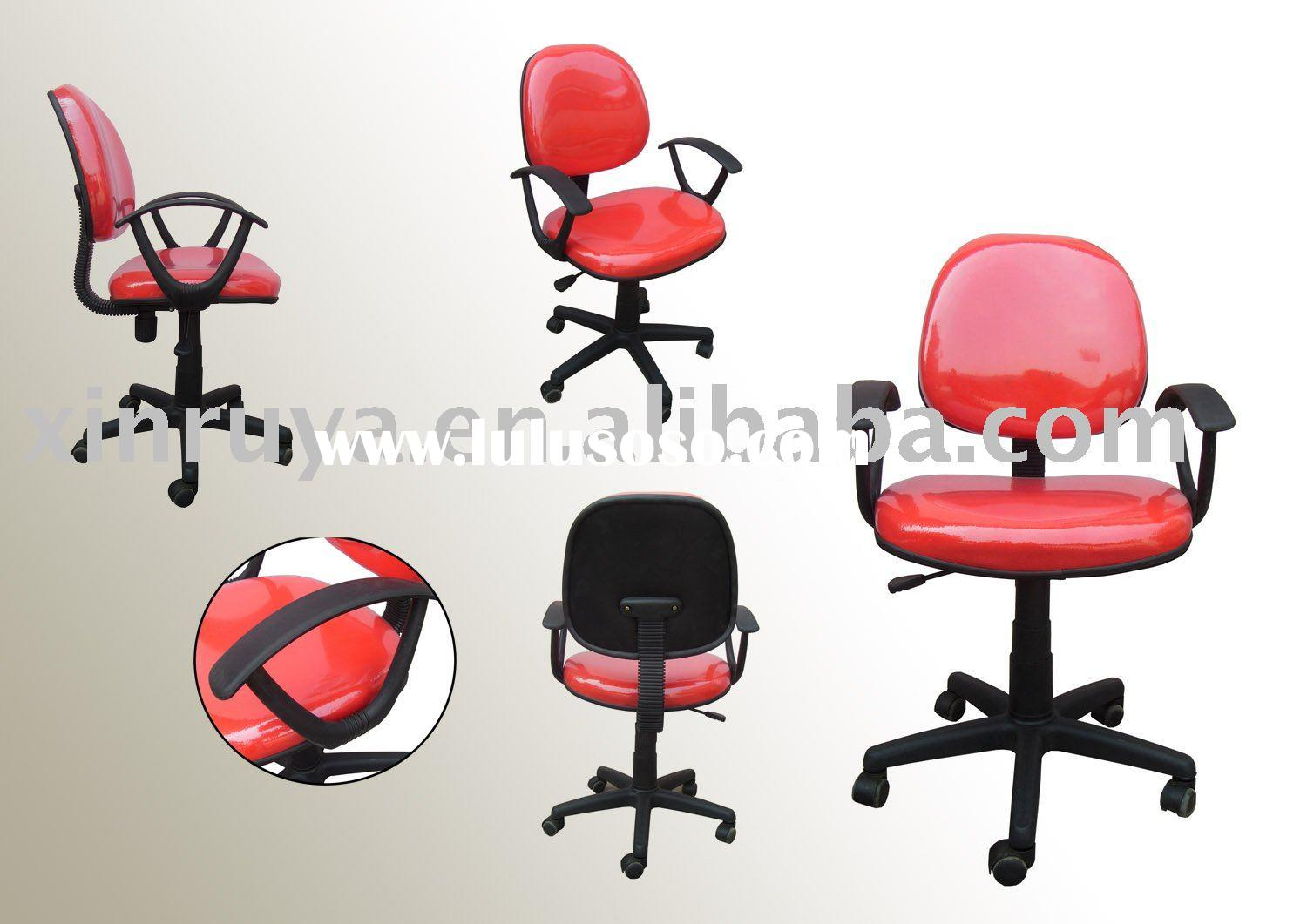 red leather swivel office chair