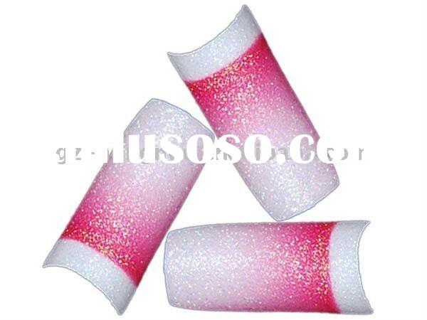 100Pcs Pink&White Glitter French False Nail Tips