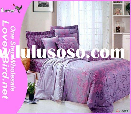 100% Cotton Romantic Purple flower Bedding Set, bed sheet cover, pillow cover,4pcs sheet, comforter,