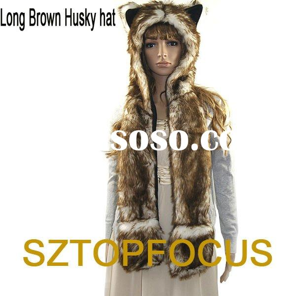2012 TRENDY FLUFFY FUR ANIMAL HOOD HAT AND CAP WITH LONG SCARF GLOVES PAWS