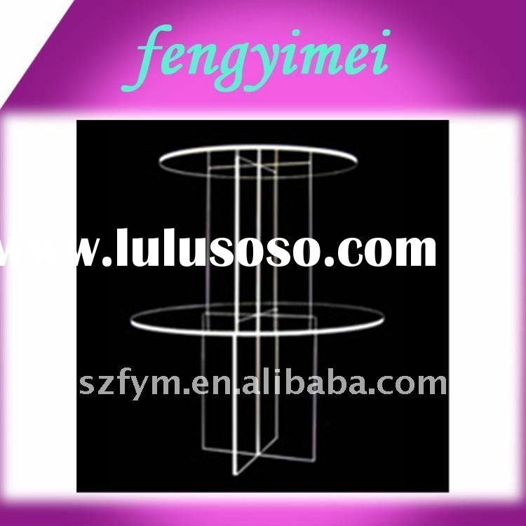 2 tiers acrylic risers/multi tiers plexiglass round tray risers/acrylic cupcake display stand FYM-11