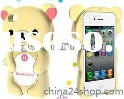 3D rilakkuma silicone covers cartoon cases for Iphone 4 4S