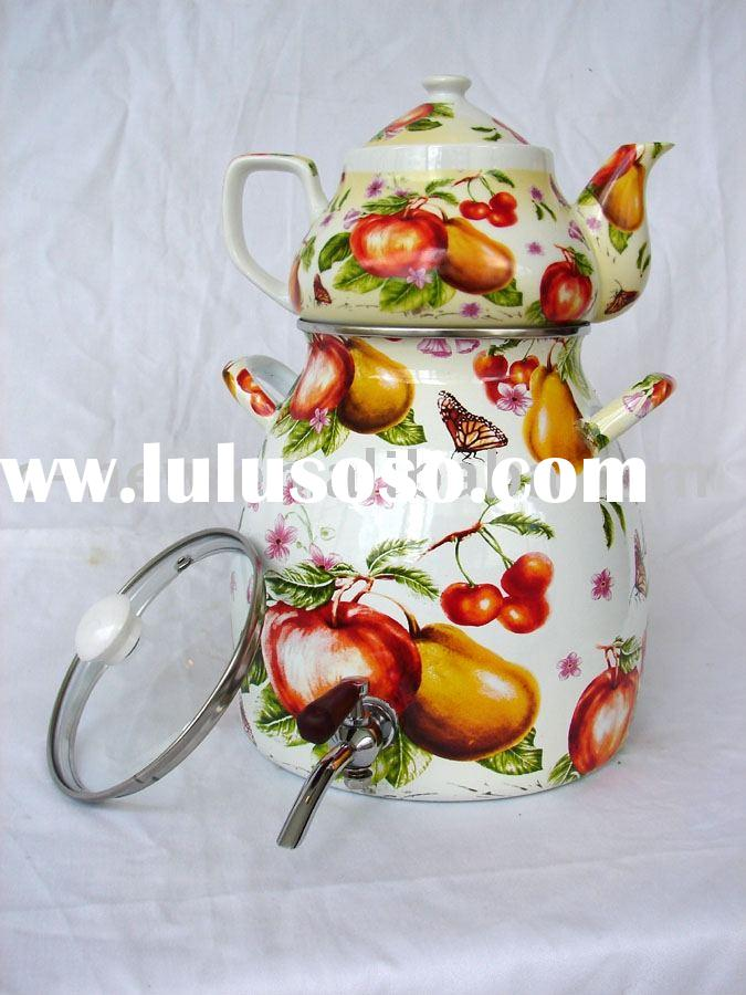 5pcs porcelain enameled tea kettle & vacuum flask cookware set Decor