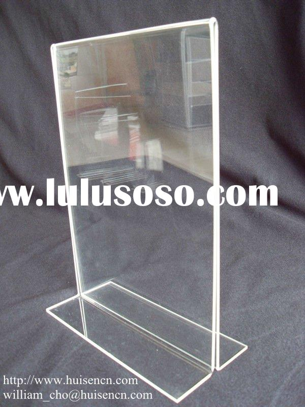 Acrylic T-frame a4 poster holder stand for counter display HS-D006