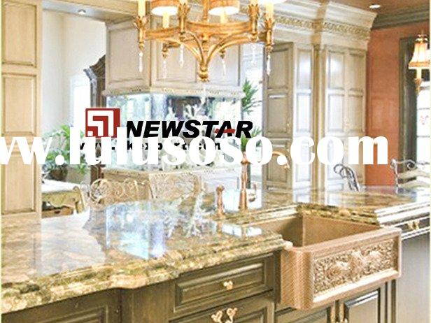Kitchen Furniture with Granite Counter Tops and Copper Sinks