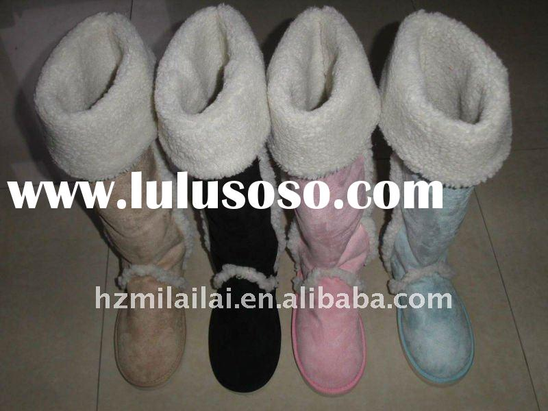 Ladies Fashion Black/Light Blue/Pink/Khaki Boots with Fur Decoration, Warm Snow Boots with Plush Lin
