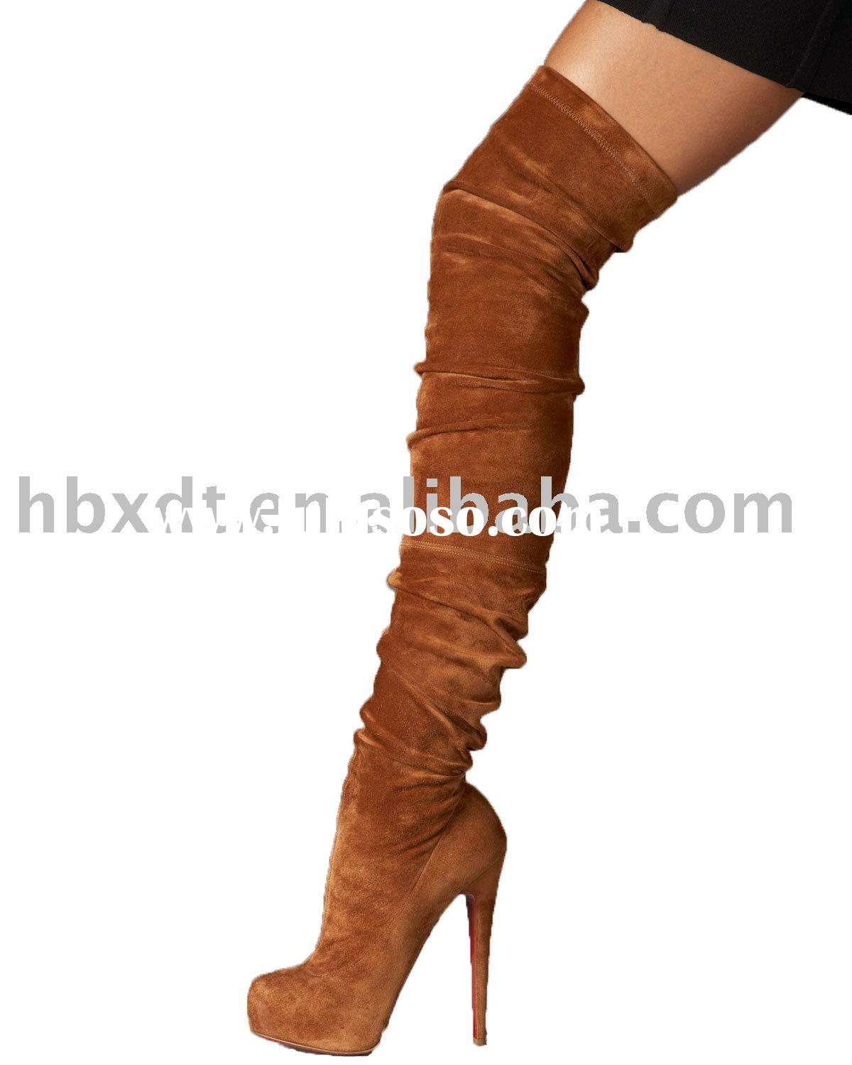 Ladies elastic over knee leather high heel boots