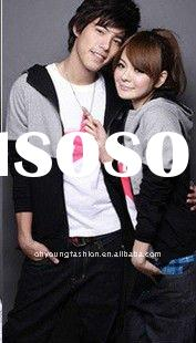 Latest style 2011 Autumn and winter for his and hers lover's cotton fleece long sleeve zippe