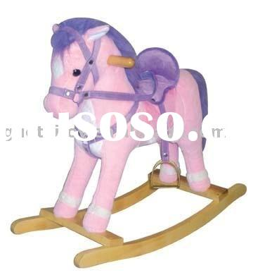 Pink Rocking Horse/ Plush baby rocking horse with wooden base